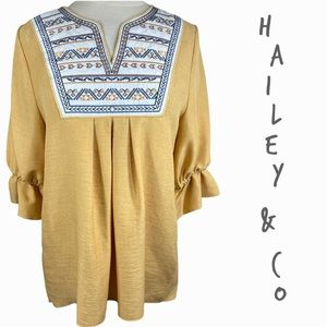 Modcloth Hailey and Co Golden yellow boho embroidered top